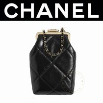 CHANEL アイウェア ケース ラム チェーン 黒 限定 ギフト 直営店