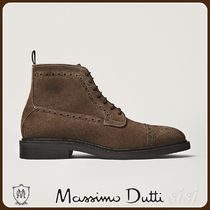 MassimoDutti♪TAUPE PERFORATED SPLIT SUEDE ANKLE BOOTS
