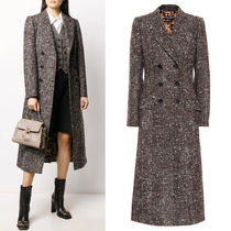 DG2375 CHECKED WOOL BLEND DOUBLE BREASTED COAT