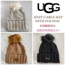 大人気!追跡あり☆UGG☆KNIT CABLE HAT WITH FUR POM