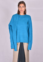 ROKH R3CA20 MH MOHAIR DOUBLE KNIT SWEATER ELECTRIC BLUE