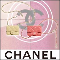 CHANEL▼【正規品】ロゴ 上質 チェーン フラップ カード ケース