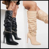 Simmi London Cena stilletto knee boots with detachable chain