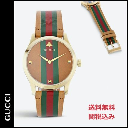 GUCCI Men's Timeless Leather Strap Watch, 38mm