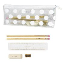 即納Kate spadeNY  White Dotクリアーpencilcase文具付き