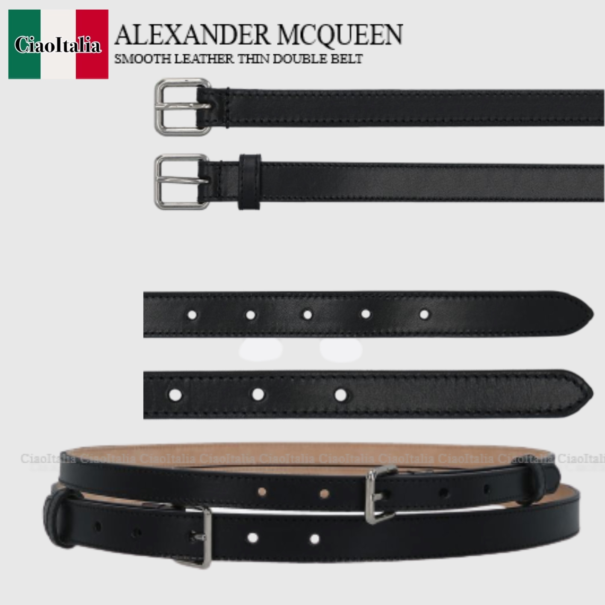 ALEXANDER McQUEEN SMOOTH LEATHER THIN DOUBLE BELT (alexander mcqueen/ベルト) 640944 1BR0I  6409441BR0I  6409441BR0I 1000