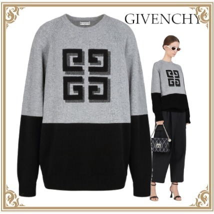 ☆GIVENCHY☆TWO TONE CASHMERE PULLOVER☆4G LOGO☆Gray&Black (GIVENCHY/ニット・セーター) BW908N4Z8W-002