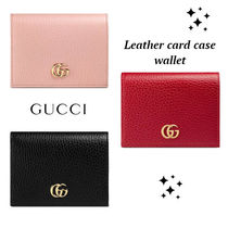 大人気!!ゴールド ロゴ★GUCCI★Leather card case wallet