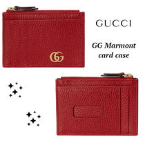 大人気!!ゴールド ロゴ★GUCCI★Red GG Marmont card case