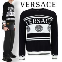 【20AW最新作】GIANNIVERSACE ロゴ ボーダー ウール セーター