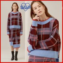 ◆EYEYE◆CHECKED SIDE VENT WOOL-BLENDED KNIT TOP BURGUNDY◆