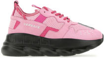 VERSACE ■PINK FABRIC AND NUBUCK CHAIN REACTION SNEAKERS