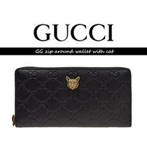 GUCCI グッチ GG zip around wallet with cat【送料0/国内即発】