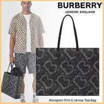 品格感じるLXストリート◆BURBERRY◆Print E-canvas Tote Bag