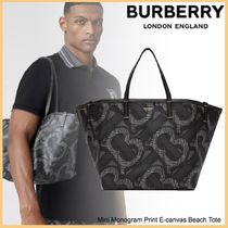 品格感じるLXストリート◆BURBERRY◆Print E-canvas Beach Tote
