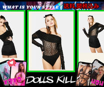 在庫僅か【 DOLLS KILL 】HEART PRINT OFF SHOULDER BODYSUIT