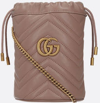GUCCI★GG MARMONT MINI QUILTED LEATHER BUCKET BAG
