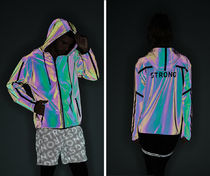 新作♪STRONG ID Holographic Reflective Zip-Up Hoodie -Multi
