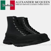 ALEXANDER McQUEEN THREAD SMOOTH LEATHER COMBAT BOOTS