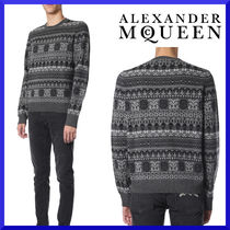【alexander mcqueen】WOOL SWEATER WITH ALLOVER SKULL PRINT