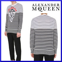 【alexander mcqueen】SWEATER STRIPED PATTERN AND SKULL INLAY