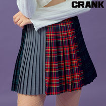 ★CRANK★PLEATS MULTI CHECK SKIRT_RD★正規品★韓国直送料込