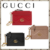 [GUCCHI]GG Marmont keychain wallet赤黒ダスティピンク