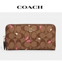 COACH ◆ accordion zip wallet in signature canvas butterfly