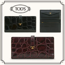TOD'S☆PURSE IN LEATHER クロコ柄レザー長財布☆送料込