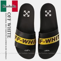 OFF WHITE INDUSTRIAL BELT SMOOTH LEATHER SLIDE SANDALS