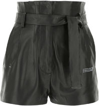 Off White□BLACK LEATHER SHORTS