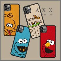 AXXSTUDIO★Sesame Street Saffiano Leather Phone Case 4色