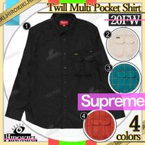 20FW/Supreme Twill Multi Pocket Shirt ツイル ポケット シャツ