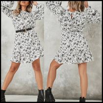Missguided long sleeve skater dress with frill neck