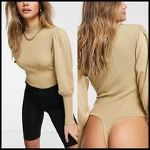 Missguided high neck bodysuit with balloon sleeves in beige