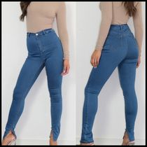 Missguided split hem skinny vice jean in blue