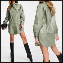 Missguided oversized PU shirt dress in sage