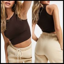 Missguided ribbed sleeveless crop top in brown