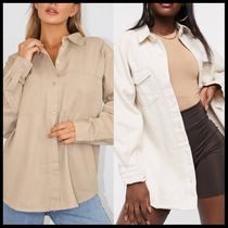 Missguided oversized boyfriend shirt in beige