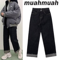 ★20-21FW新作★MUAHMUAH★ROLL UP RAW DENIM PANTS_ブラック