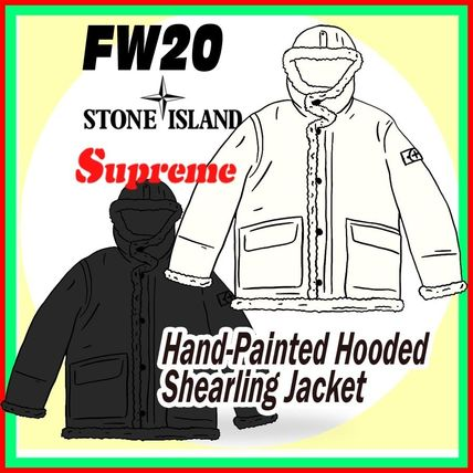 13 Week FW 20 Supreme x Stone Island Hooded Shearling Jacket