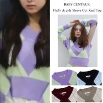 【THE CENTAUR】FLUFFY ARGYLE SLEEVE CUT KNIT ★ITZY 着用★