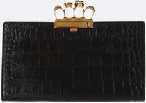 ALEXANDER MCQUEEN◆SKULL FOUR-RING CLUTCH CROCODILE LEATHER