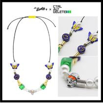 【EVAE+MOBxCtrlAltDelete】Blue Smiley Pearl Charms Necklace