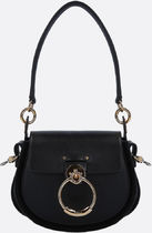 CHLOE■TESS SMALL SHINY LEATHER AND SUEDE SHOULDER BAG