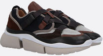 CHLOE◆SONNIE LOW-TOP SNEAKERS IN LEATHER AND FABRIC