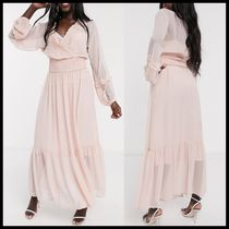 ASOS DESIGN lace insert shirred waist maxi dress