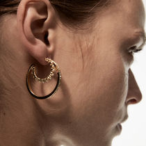 ZARA【NEW】SPARKLY AND FAUX PEARL DOUBLE HOOP EARRINGS