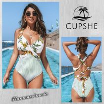 CUPSHE(カップシー) ワンピース水着 関税込★CUPSHE★WHITE FLORAL AND STRIPE*ワンピース水着(C878)