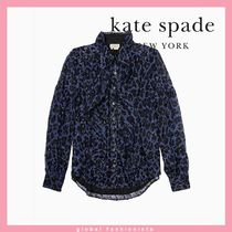 kate spade wild ones leopard clip dot bow blouse ブラウス
